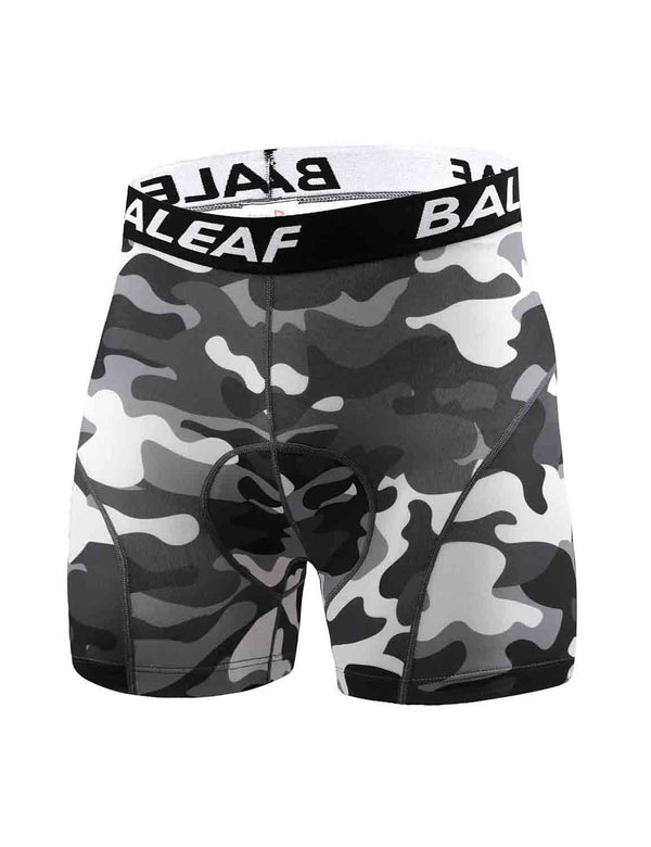 "Baleaf Mens 4.7"" 4D Padded MTB Liner Camo Bike Shorts Black front"