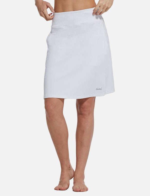 Baleaf Womens UPF50+ 2-in-1 Knee-Length Golf Skorts w Mesh Lining White front