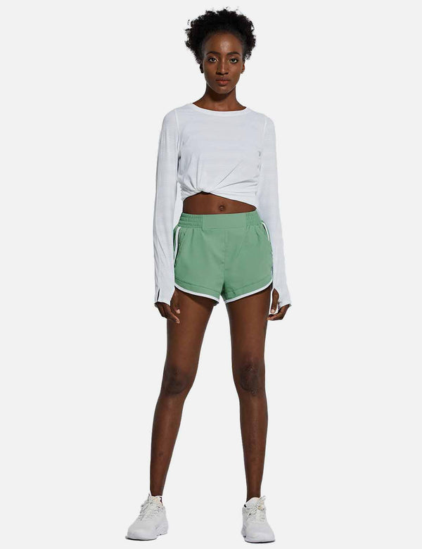 Baleaf Womens 2.5'' Workout Shorts w Zippered Pockets & Inner Lining Green full