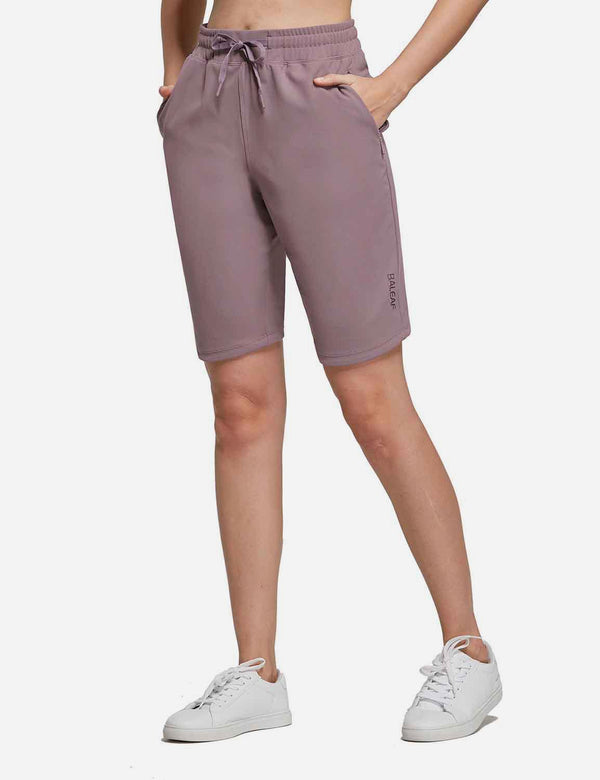 Baleaf Womens 10'' High Rise Bermuda Shorts w Zippered Pockets Purple front