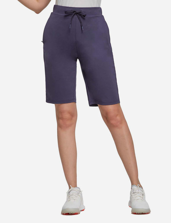 Baleaf Womens 10'' Athletic Bermuda Lounge Shorts w Elastic Waistband Navy front