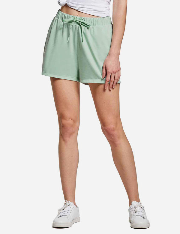 Baleaf Womens Drawstring 2.5'' Knitted Lounge Shorts Tile Green front