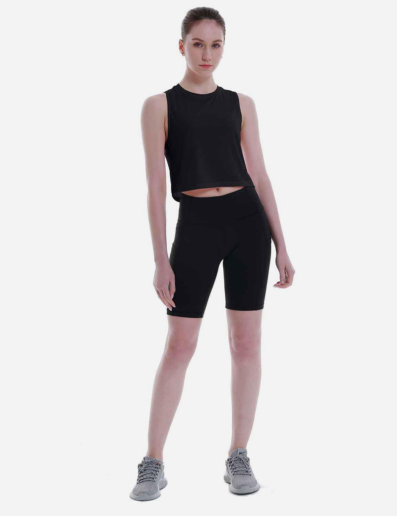 Baleaf Women's Super Soft Sleeveless Muscle Yoga Crop Tops Black full