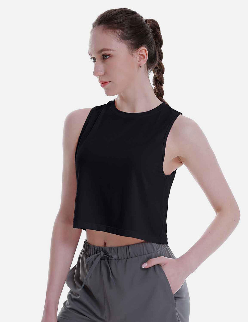 Baleaf Women's Super Soft Sleeveless Muscle Yoga Crop Tops Black side