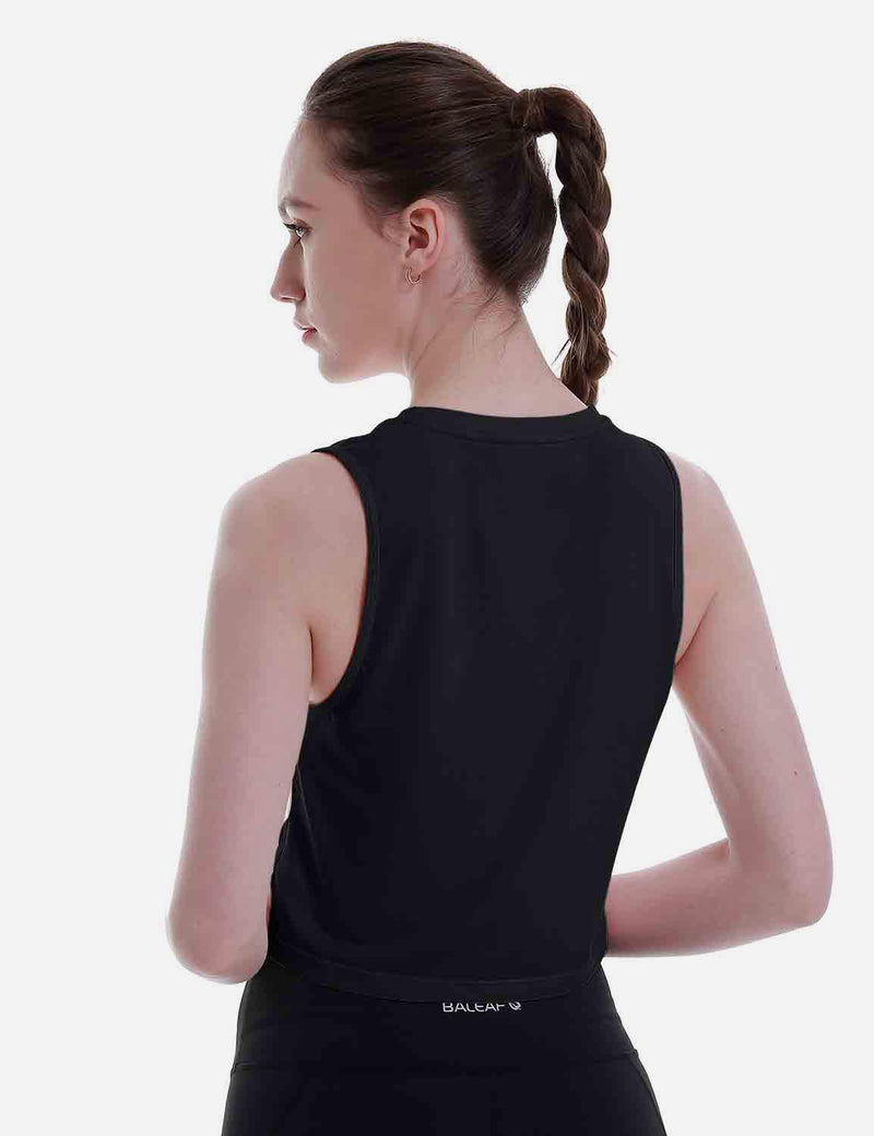 Baleaf Women's Super Soft Sleeveless Muscle Yoga Crop Tops Black back