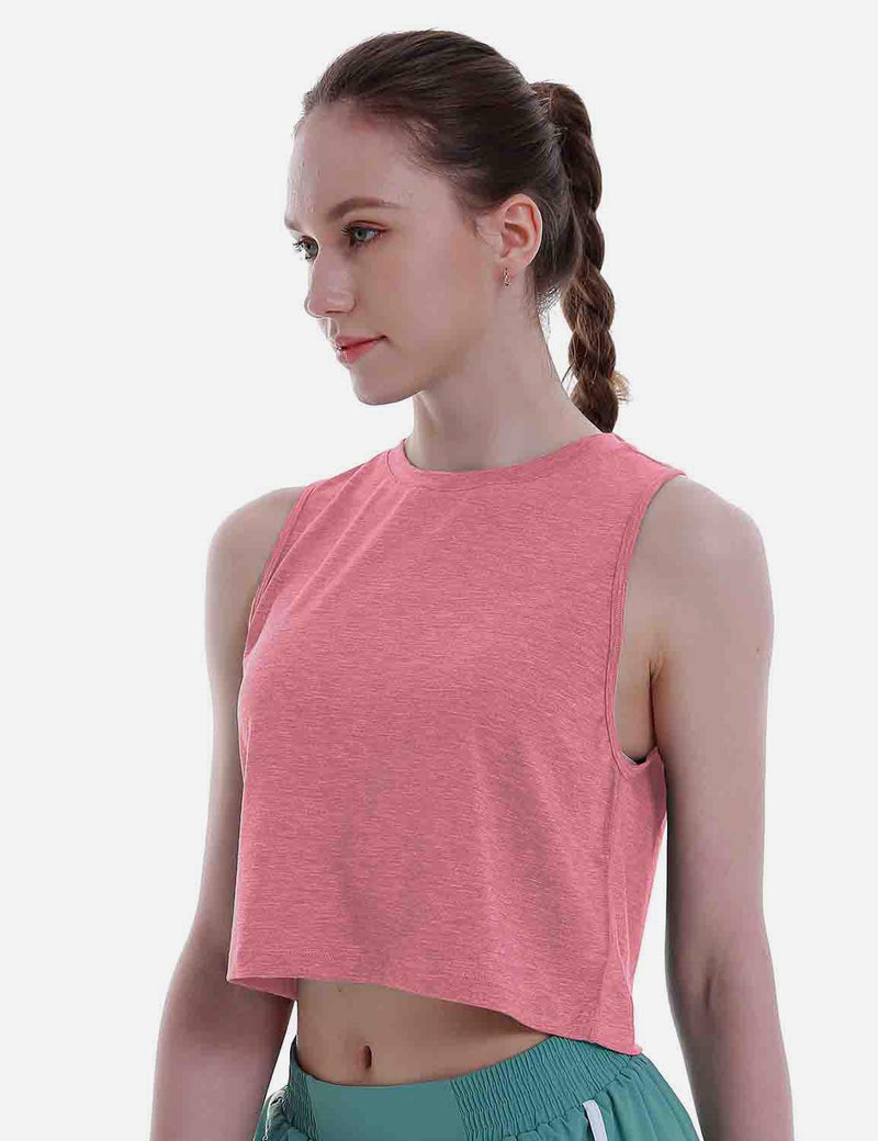 Baleaf Women's Super Soft Sleeveless Muscle Yoga Crop Tops HeatherCoral side