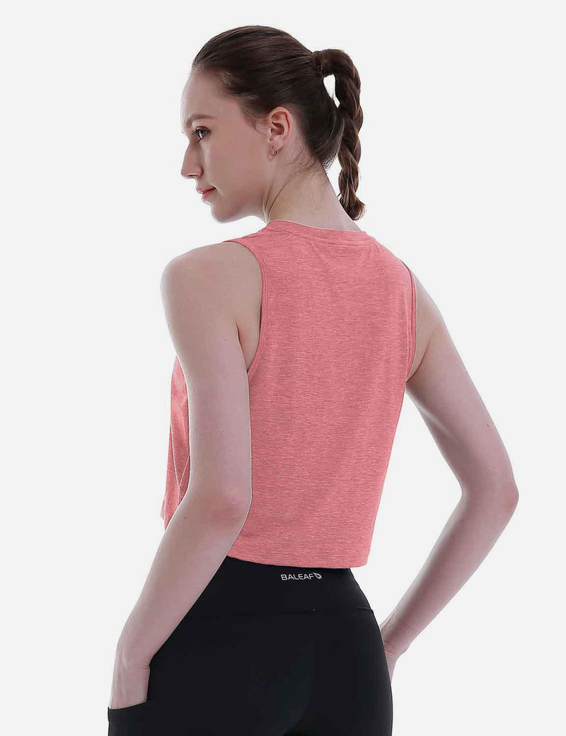 Baleaf Women's Super Soft Sleeveless Muscle Yoga Crop Tops HeatherCoral back