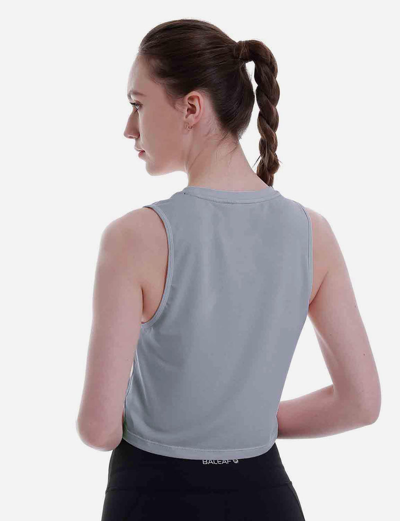 Baleaf Women's Super Soft Sleeveless Muscle Yoga Crop Tops HeatherGray back