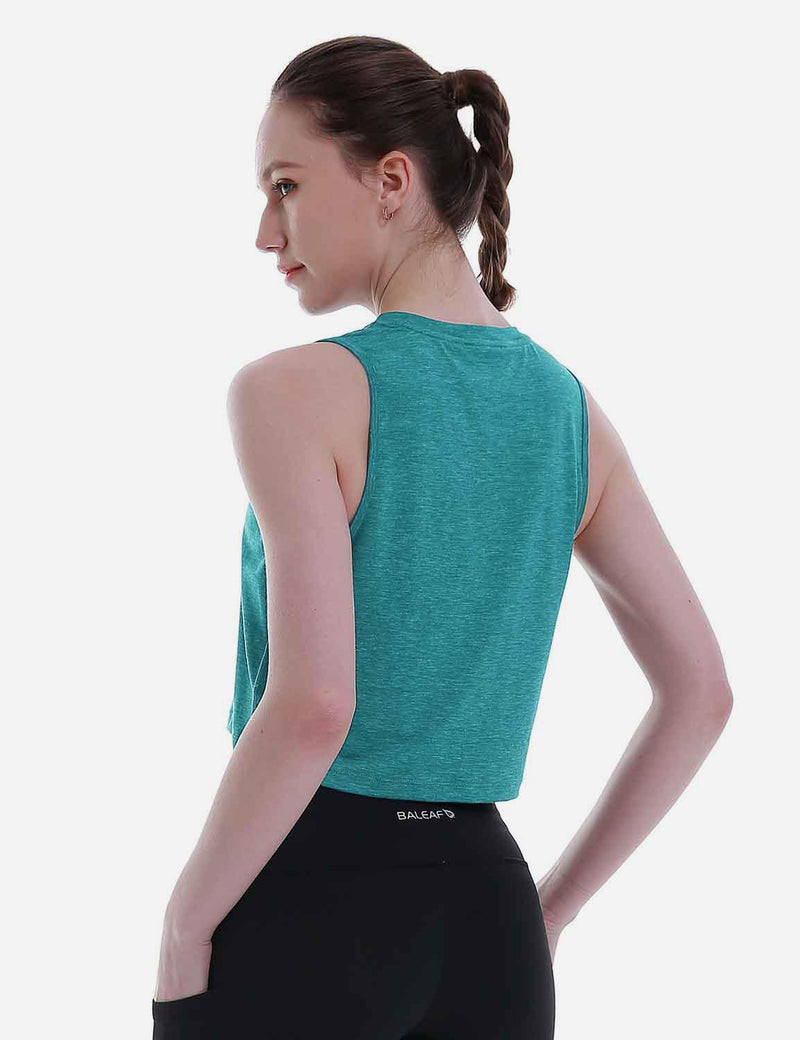Baleaf Women's Super Soft Sleeveless Muscle Yoga Crop Tops HeatherGreen back