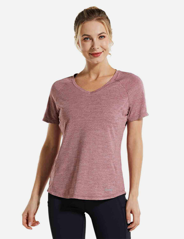 Baleaf Womens Open Back Short Sleeved V Neck Yoga Shirt Light Red front