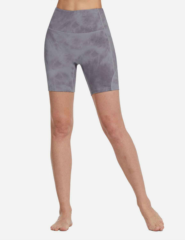 Baleaf Womens 7'' High Rise Butt Lifting Tie Dye Yoga Shorts TieDyePurple front