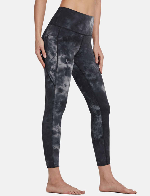 Baleaf Womens 25'' High Rise Tie Dye Tummy Control Pocketed Leggings Black side