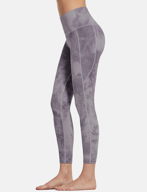 Baleaf Womens 25'' High Rise Tie Dye Tummy Control Pocketed Leggings Purple side