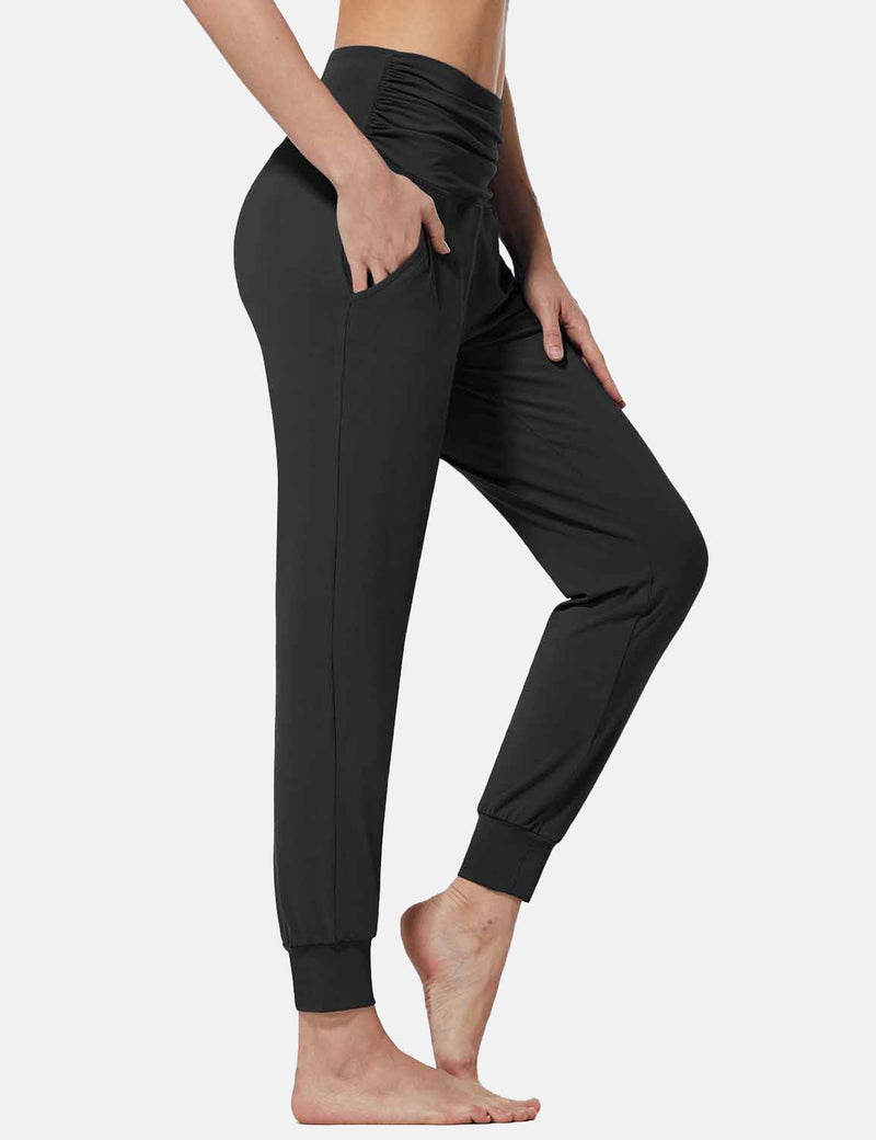 Baleaf Womens High Rise Pleats Tapered Yoga Joggers w Pockets Black side