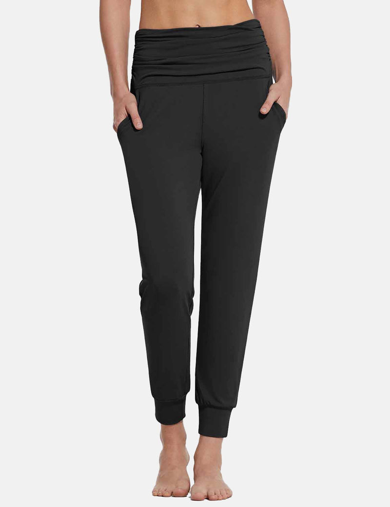 Baleaf Womens High Rise Pleats Tapered Yoga Joggers w Pockets Black front