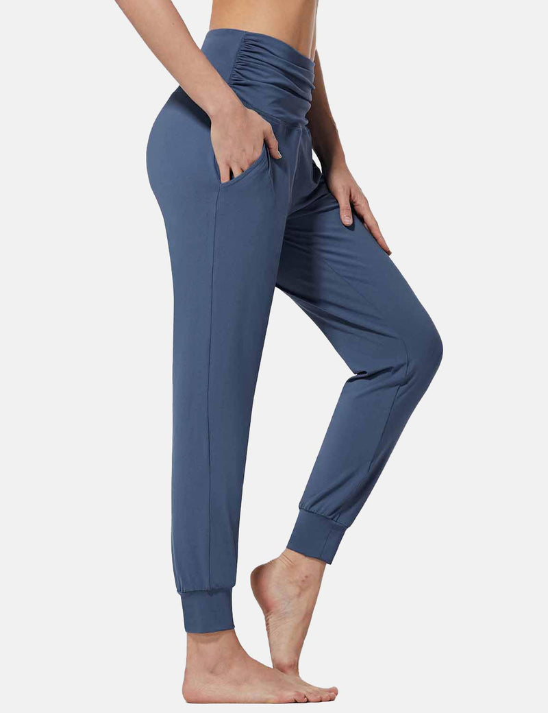 Baleaf Womens High Rise Pleats Tapered Yoga Joggers w Pockets Blue side