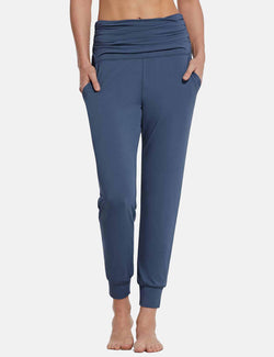 Baleaf Womens High Rise Pleats Tapered Yoga Joggers w Pockets Blue front