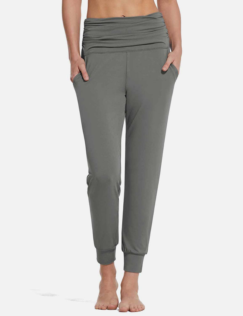 Baleaf Womens High Rise Pleats Tapered Yoga Joggers w Pockets Gray front