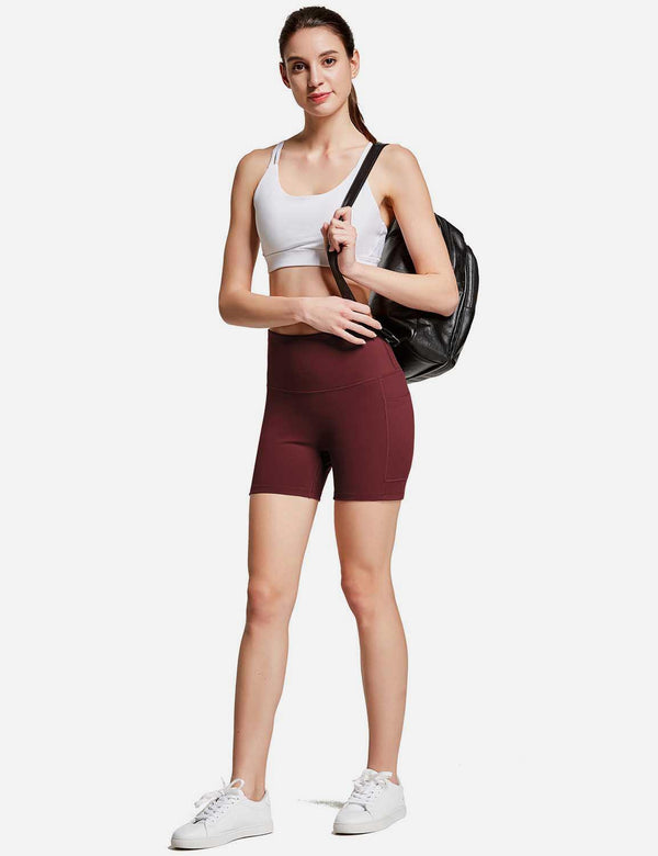 Baleaf Womens 4'' High Rise Tummy Control Yoga Shorts w Side Pockets Wine Red full
