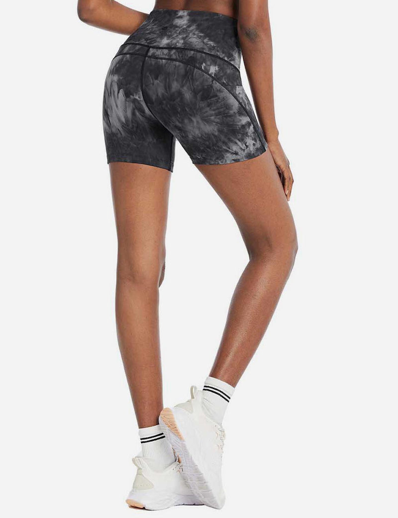 Baleaf Women's 5'' High Rise Seamless Tie Dye Pocketed Yoga Shorts GraphiteGrey back