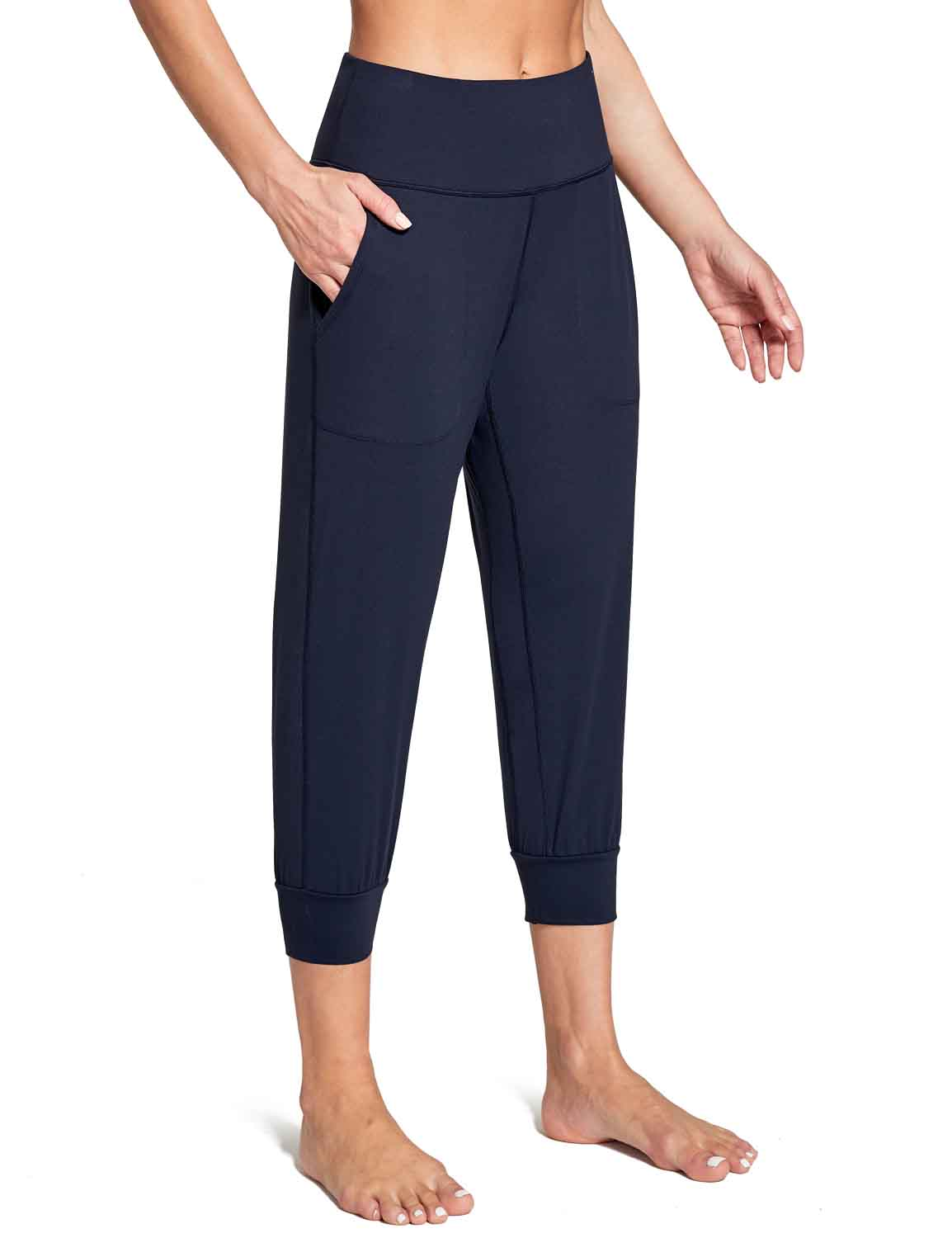 Baleaf Women's High Rise Soft Cropped Workout Pockets Joggers navy front