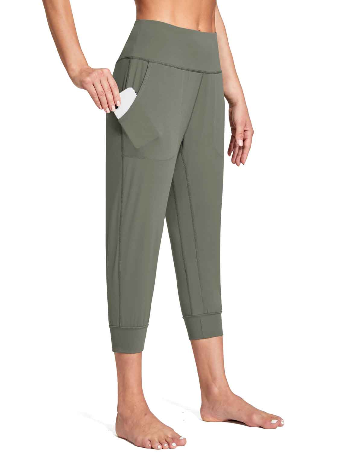 Baleaf Women's High Rise Soft Cropped Workout Pockets Joggers grey front
