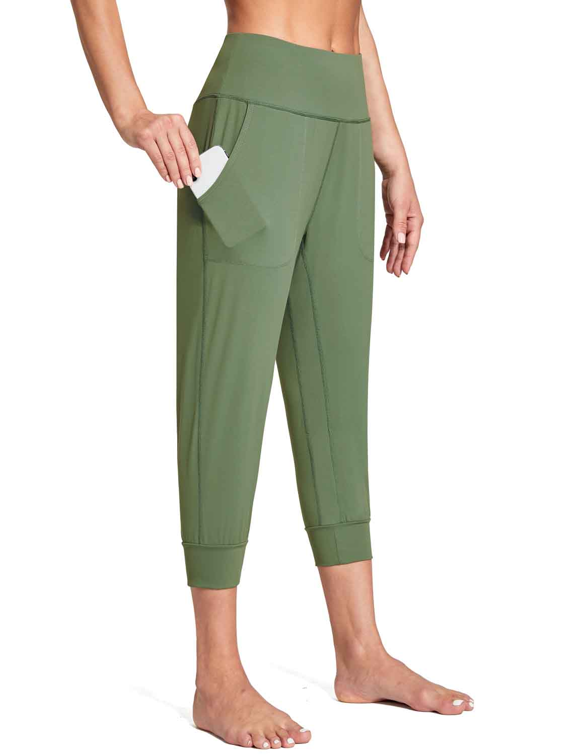 Baleaf Women's High Rise Soft Cropped Workout Pockets Joggers green side