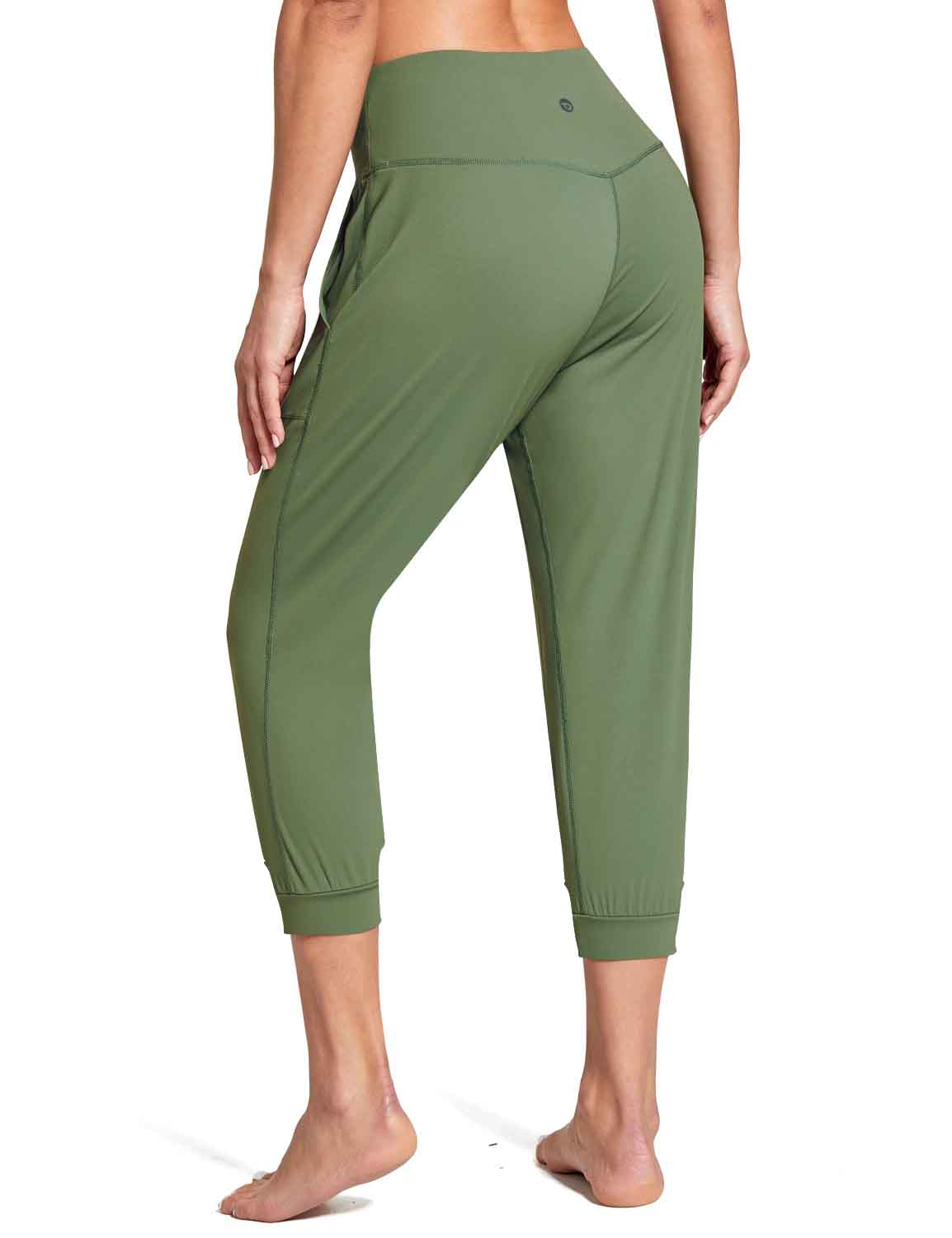 Baleaf Women's High Rise Soft Cropped Workout Pockets Joggers green back