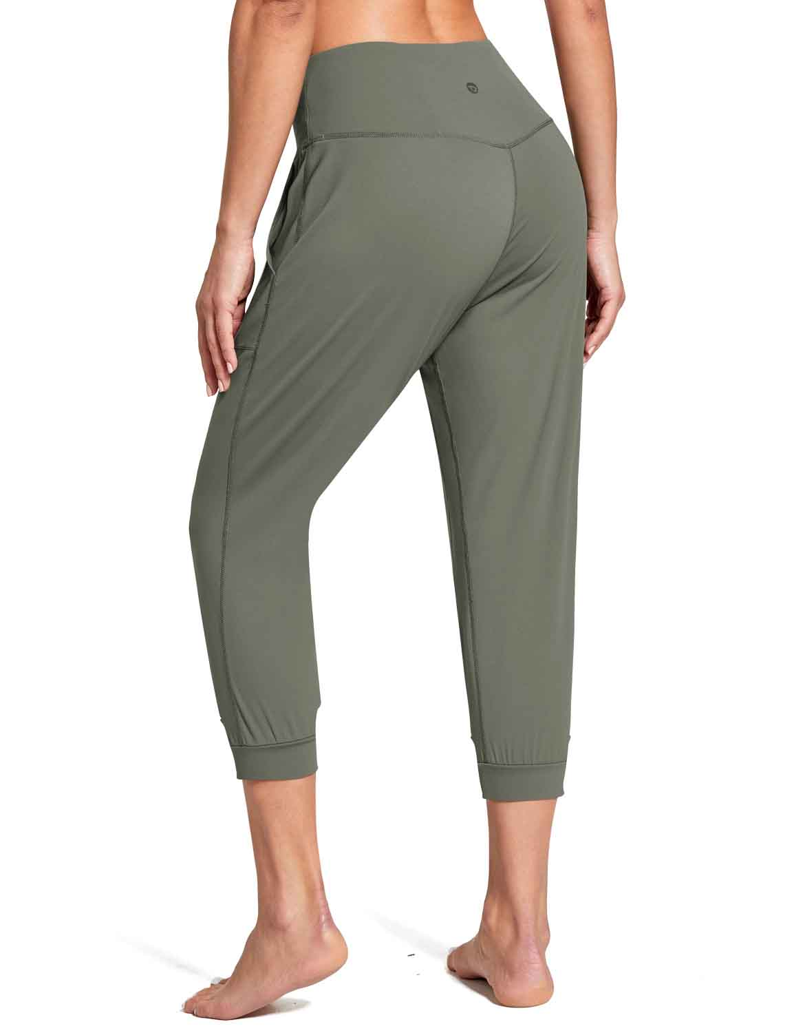 Baleaf Women's High Rise Soft Cropped Workout Pockets Joggers grey back