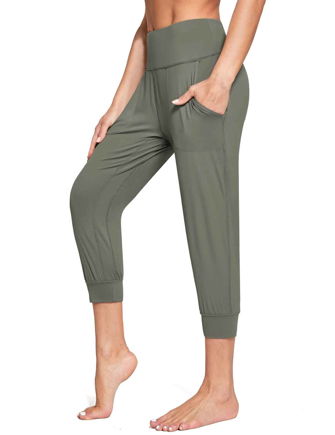 Baleaf Women's High Rise Soft Cropped Workout Pockets Joggers grey side