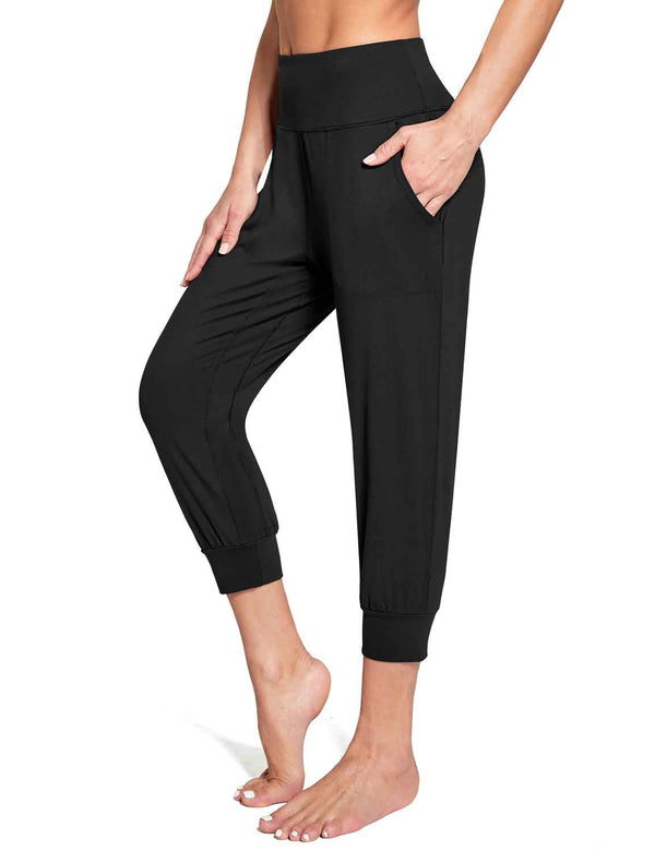 Baleaf Women's High Rise Soft Cropped Workout Pockets Joggers black  side