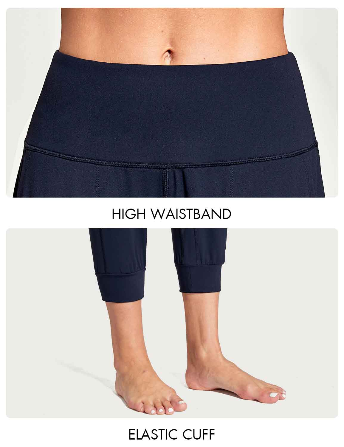 Baleaf Women's High Rise Soft Cropped Workout Pockets Joggers navy details