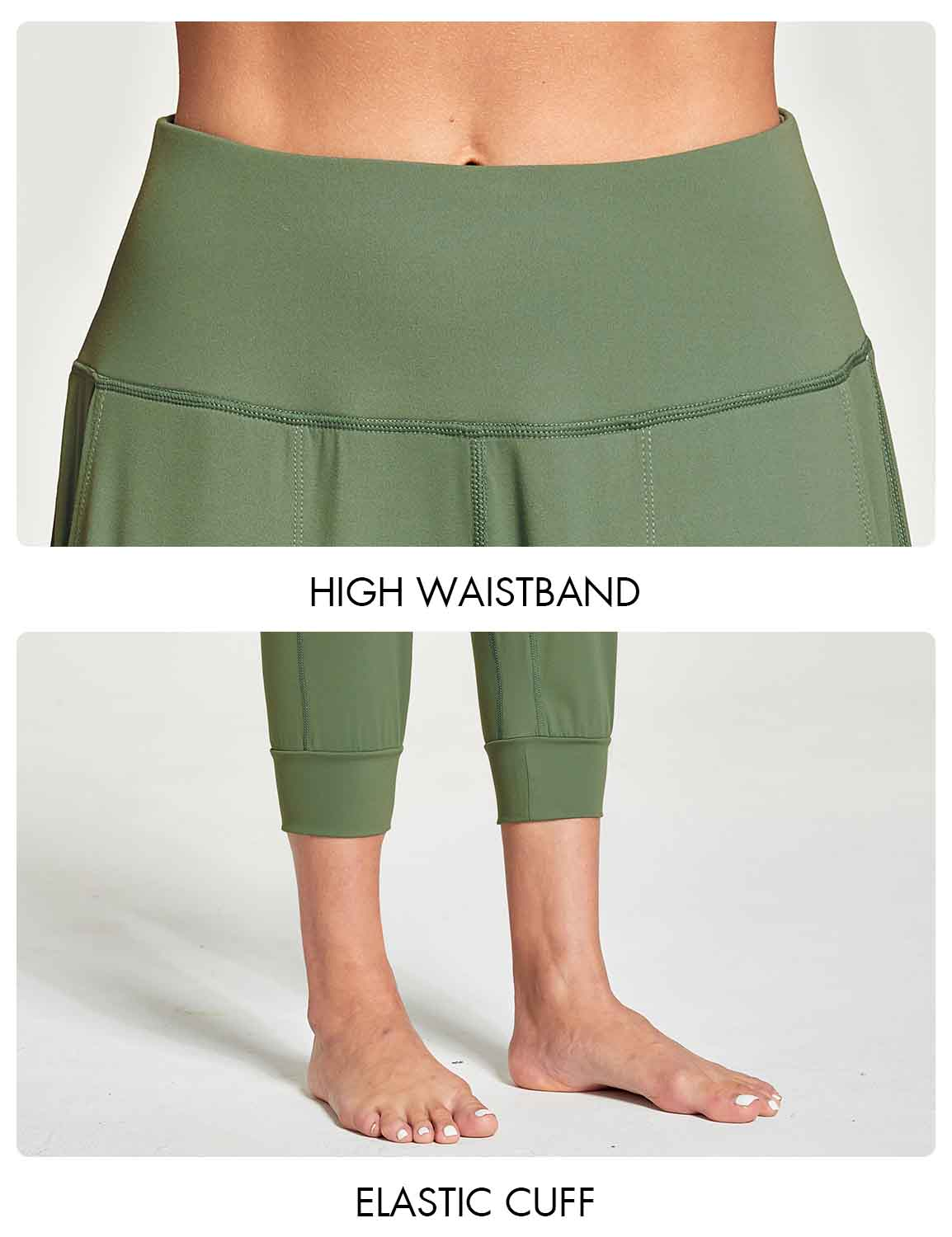 Baleaf Women's High Rise Soft Cropped Workout Pockets Joggers green details