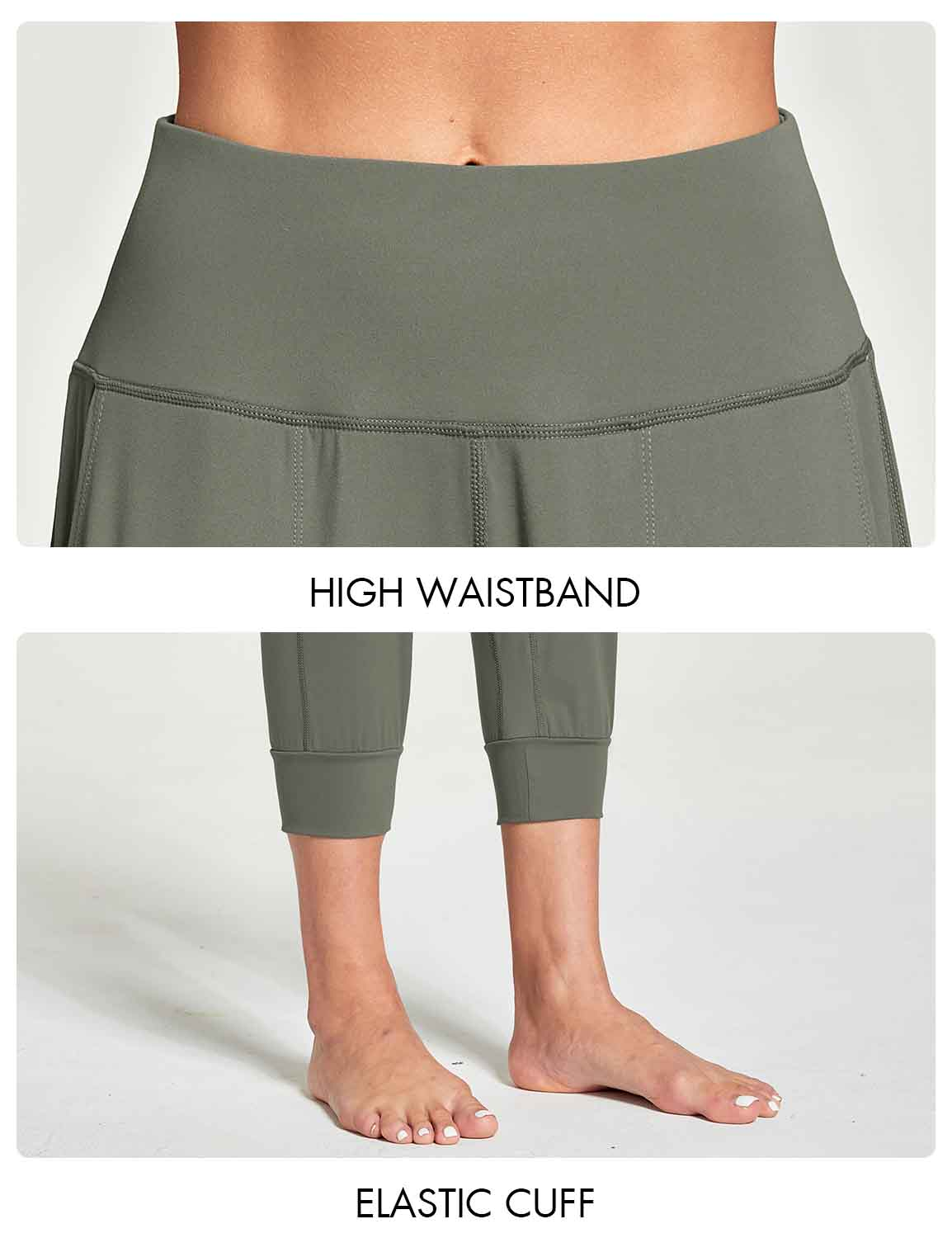 Baleaf Women's High Rise Soft Cropped Workout Pockets Joggers grey details