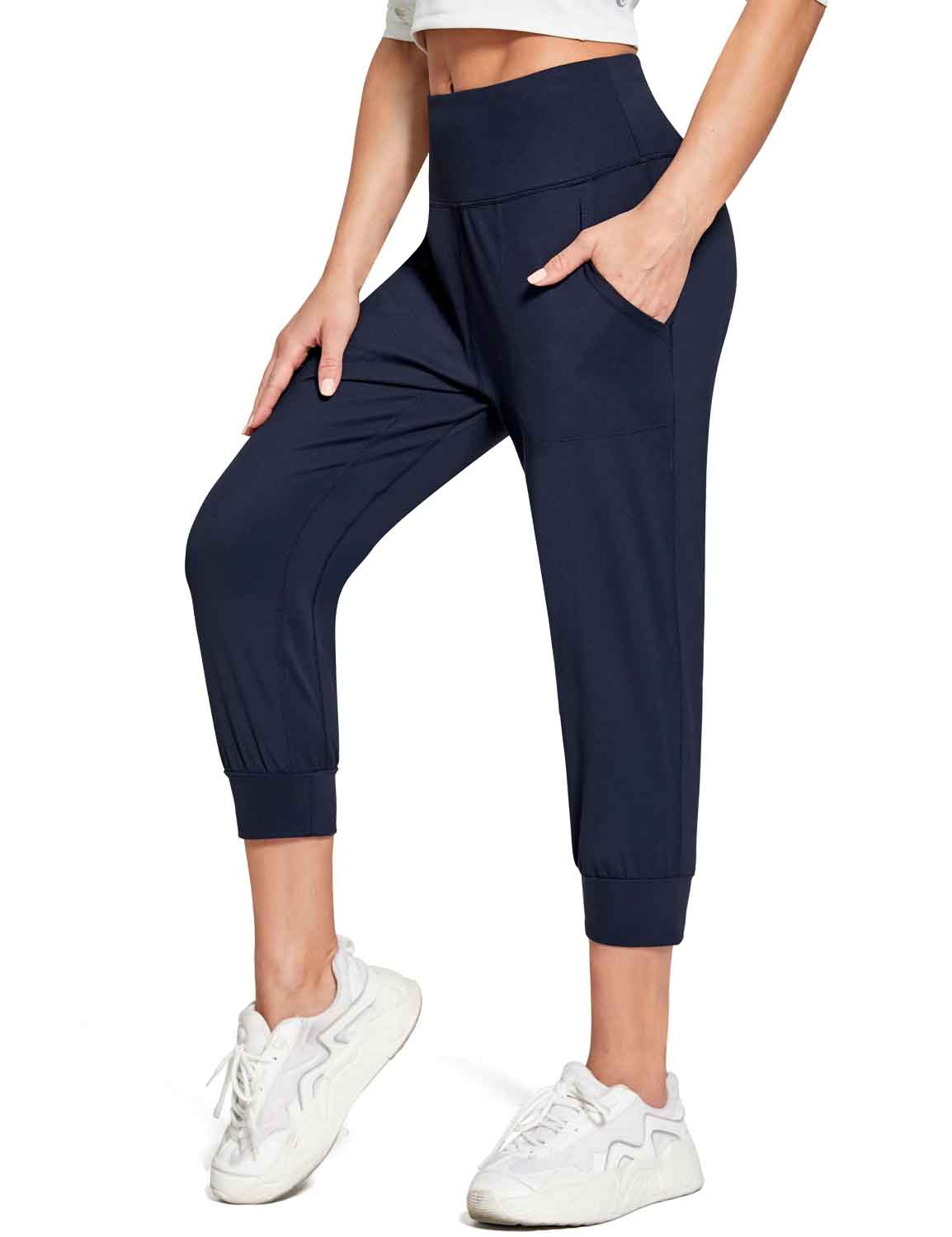 Baleaf Women's High Rise Soft Cropped Workout Pockets Joggers navy side