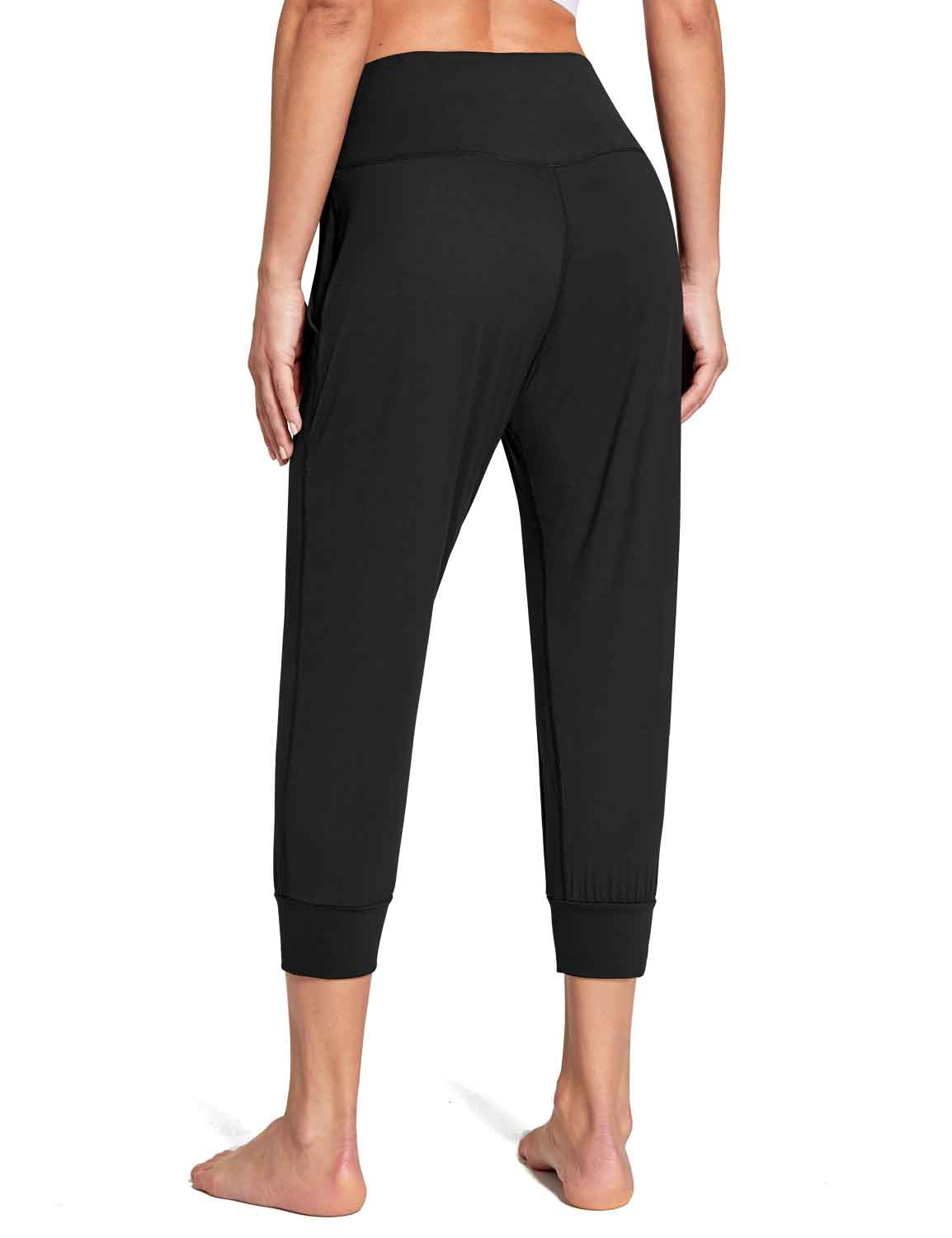Baleaf Women's High Rise Soft Cropped Workout Pockets Joggers black back
