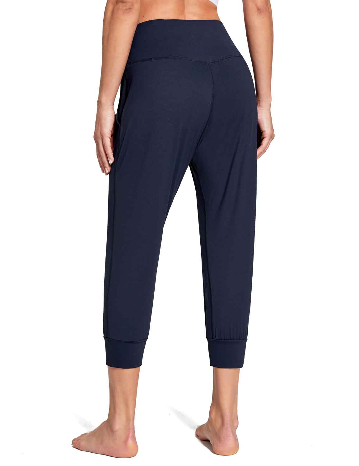 Baleaf Women's High Rise Soft Cropped Workout Pockets Joggers navy back