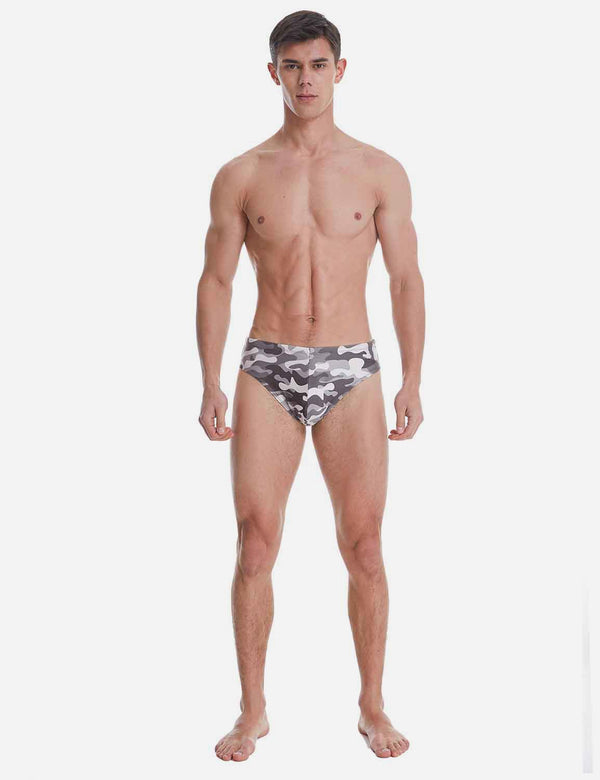Baleaf mens Camo Athletic Competitive Training Thong Swim Briefs Black gray full