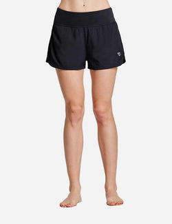 Baleaf Womens 2'' Knitted Quick Dry Beach Board Shorts w Mesh Briefs Black front