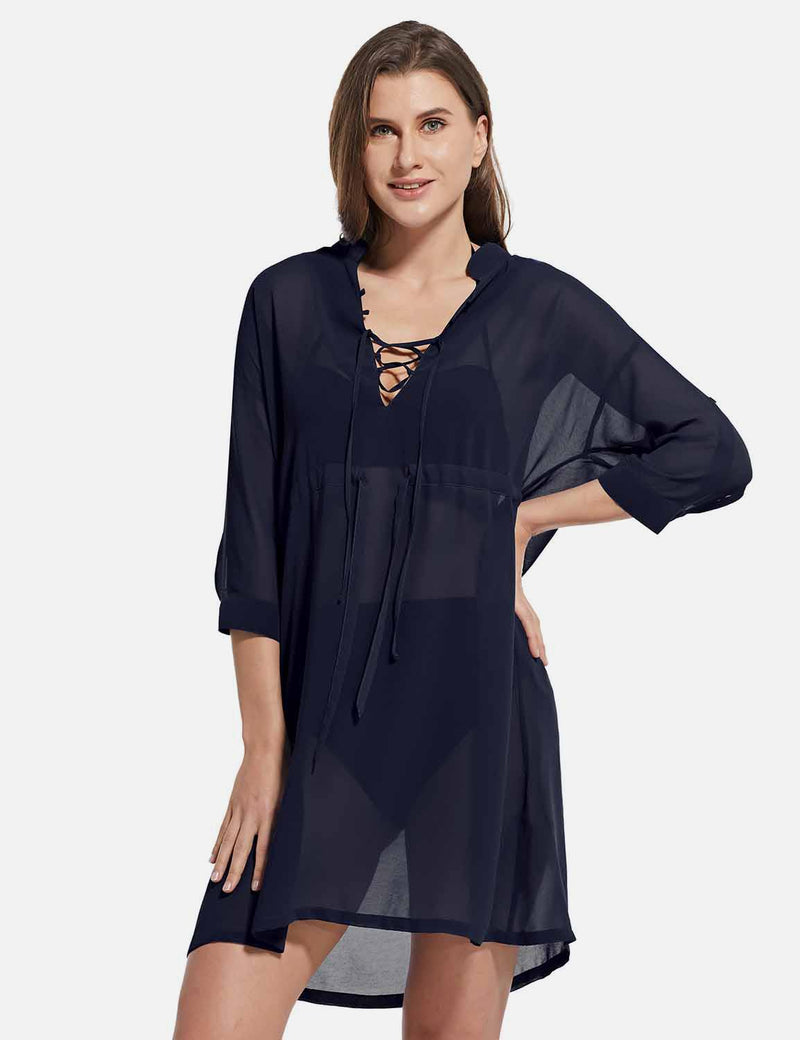 Baleaf Women's Cooling Long Sleeved V Neck Beach Drawcord Chiffon Coverups Black front