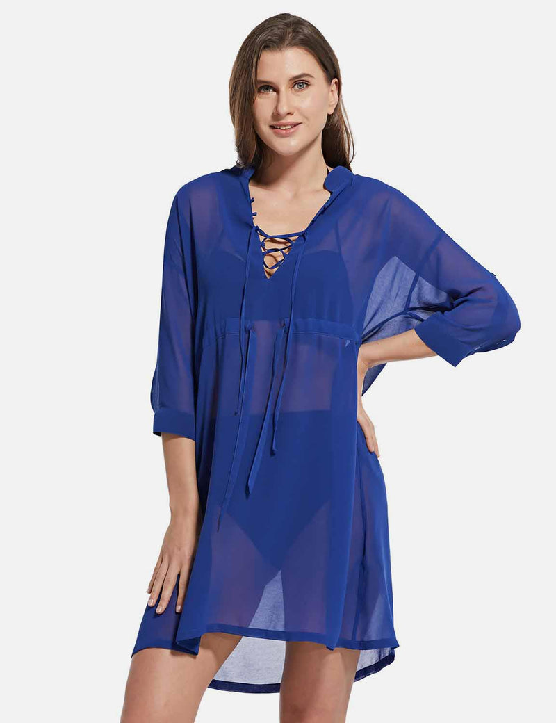 Baleaf Women's Cooling Long Sleeved V Neck Beach Drawcord Chiffon Coverups Blue front