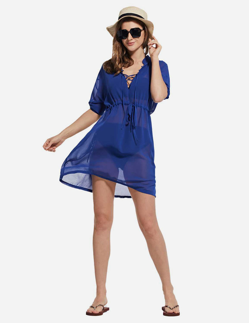 Baleaf Women's Cooling Long Sleeved V Neck Beach Drawcord Chiffon Coverups Blue full