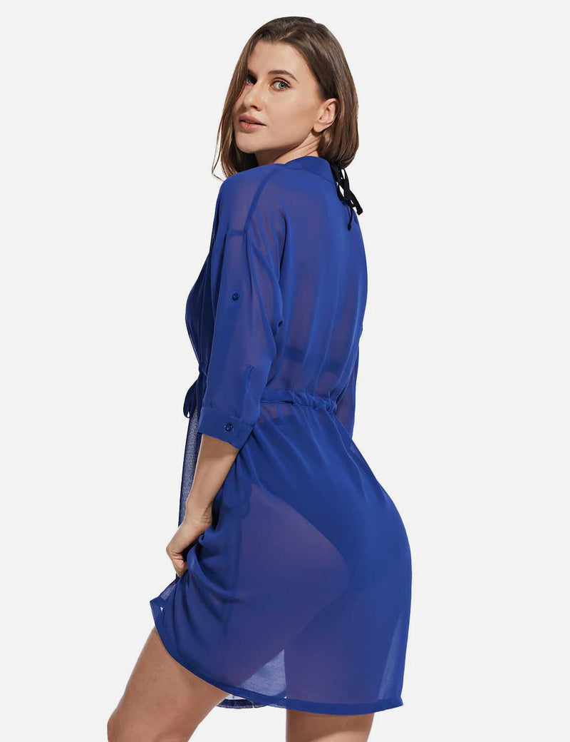 Baleaf Women's Cooling Long Sleeved V Neck Beach Drawcord Chiffon Coverups Blue side
