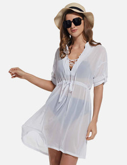 Baleaf Women's Cooling Long Sleeved V Neck Beach Drawcord Chiffon Coverups White front