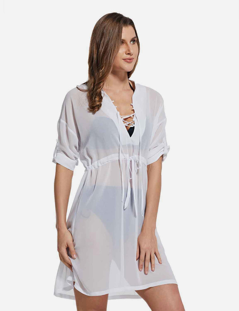 Baleaf Women's Cooling Long Sleeved V Neck Beach Drawcord Chiffon Coverups White side