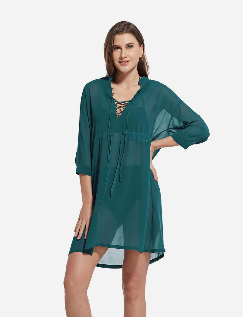 Baleaf Women's Cooling Long Sleeved V Neck Beach Drawcord Chiffon Coverups green front