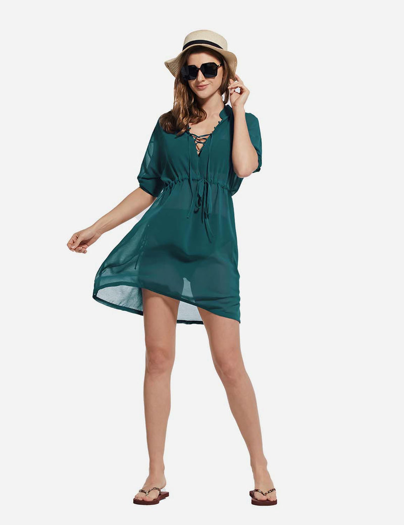 Baleaf Women's Cooling Long Sleeved V Neck Beach Drawcord Chiffon Coverups green full