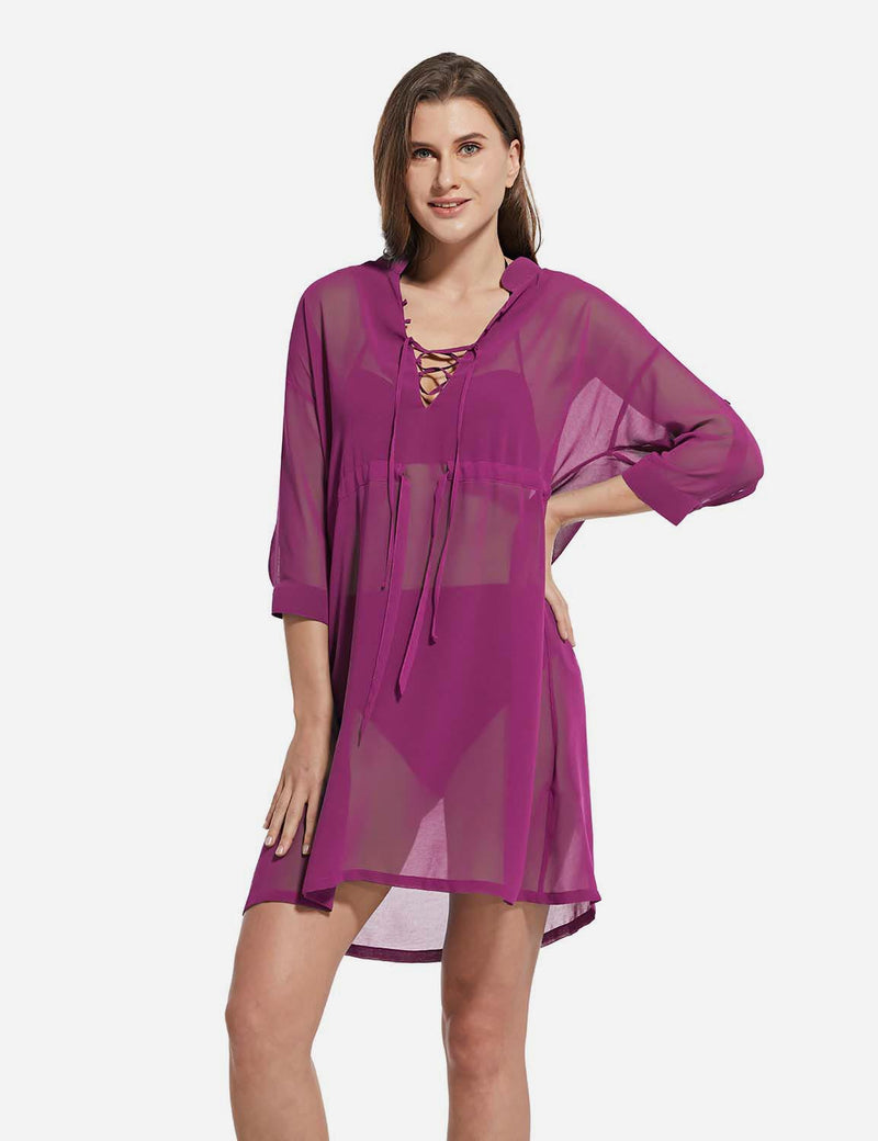 Baleaf Women's Cooling Long Sleeved V Neck Beach Drawcord Chiffon Coverups Purple front