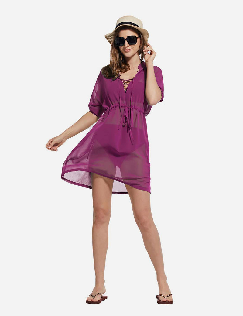 Baleaf Women's Cooling Long Sleeved V Neck Beach Drawcord Chiffon Coverups Purple full