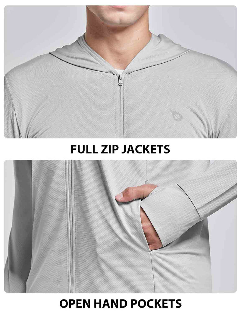 Baleaf Men UPF 50+ Full Zip Cooling Shirt Gray details